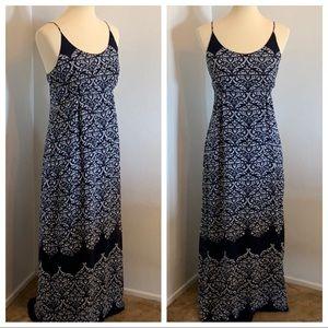 a.n.a Navy & White Maxi Dress Size M Boho Tribal